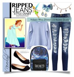 """""""Ripped Jeans : Neverland"""" by ambacasa ❤ liked on Polyvore featuring Disney, Current/Elliott, Armenta and Machi"""