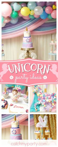 Take a look at this pretty Unicorn birthday party! The cupcakes are so cute!! See more party ideas and share yours at CatchMyParty.com #catchmyparty #unicornbirthdayparty