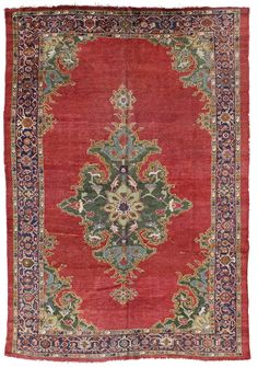 Antique Sultanabad Rug    Hand-knotted in Persia  Circa 1890