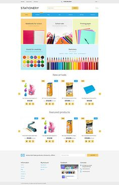 Template 62078 - Stationary Store  Responsive Shopify  Theme