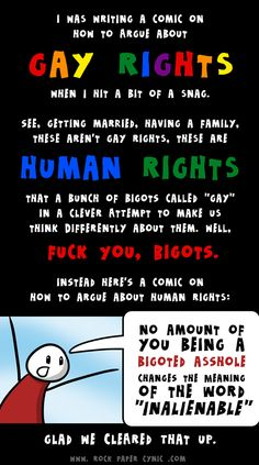 the complexities of debating the whole gay rights thing finally become apparent.  ----  I'm loving the comics at rockpapercynic.com