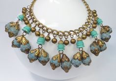 VTG ANTIQUE 1930'S AQUA CARVED BEAD BAUBLE NECKLACE POSS EARLY MIRIAM HASKELL