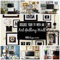 How to hang a TV gallery wall in your living room. Also shows how to DIY wall art for your TV gallery wall. A gallery wall helps your TV blend in better. Tv Wall Decor, Diy Wall Art, Entryway Decor, Pictures Around Tv, Hanging Tv On Wall, Decor Around Tv, Photo Wall Collage, Inspiration Wall, Decorating Your Home
