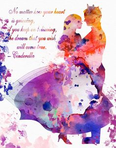 Cinderella Watercolor Illustration, Printable Movie Poster, Printable Wall Art Instant Download