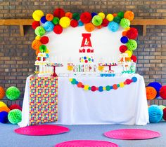 Accordian paper balls and big wooden letter as centerpiece Ball Theme Birthday, Bouncy Ball Birthday, Ball Theme Party, Abc Birthday Parties, Bounce House Birthday, Colorful Birthday Party, Rainbow Birthday, 1st Boy Birthday, Birthday Party Decorations