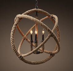 Rope Chandelier | Restoration Hardware, I bet I could make this with an old chandelier, some wire hangers, some rope, twine, and hot glue.