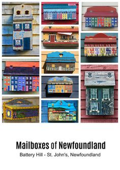 Collage of hand crafted and painted mailboxes from the Battery Hill, the historic side of St. John's city in Newfoundland, Canada