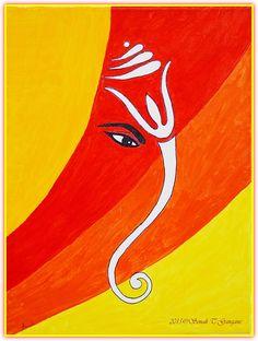 Art Discover Muktidaya-Bestower of Eternal Bliss by Sonali Gangane Ganesha Sketch, Ganesha Drawing, Lord Ganesha Paintings, Ganesha Art, Sri Ganesh, Ganesh Pic, Ganesh Rangoli, Art Drawings For Kids, Art Drawings Sketches