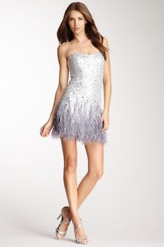 Feather Trim Sequin Strapless Dress