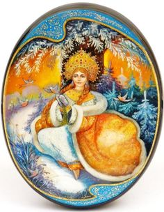Russian lacquer miniature from the village of Fedoskino. Snow Maiden with bullfinches.