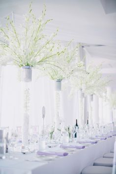 Tall white orchid centerpiece  Photography: Ben Yew Photography - benyew.com  Read More: http://www.stylemepretty.com/australia-weddings/2014/04/11/elegant-purple-infused-perth-wedding/