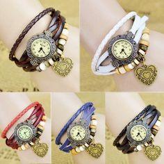 Stylish Quartz Weave Wrap Synthetic Leather Bracelet Girl's Wrist Watch