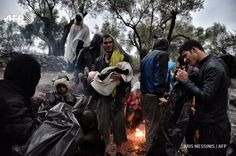 Aris Messinis 23 Οκτ #Refugees and #migrants at #Lesbos island Hot Spot after crossing the Aegean sea from Turkey.