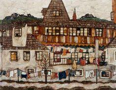 Titre de l'image : Egon Schiele - Maison avec le linge séchant