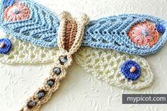 Crochet Dragonfly: Diagram + step by step instructions Вязание бабочка крючком схема описание
