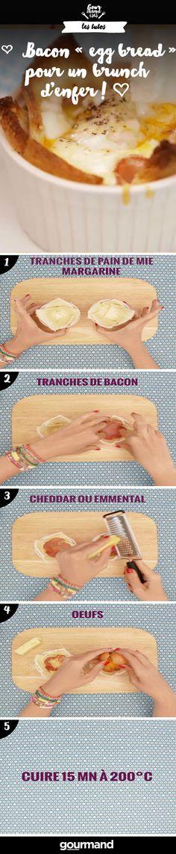 Pour un brunch, rien de tel que des œufs, du pain et du bacon. Découvrez notre recette « egg bread » facile et rapide à faire.