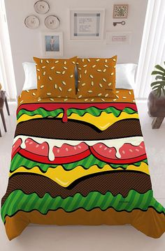 Davidelfín of Madrid brings us this delectable bedding set that includes a printed Burger Duvet Cover with sesame seed bun pillows.