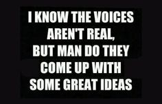 I know the voices aren't real, but man do they come up with some great ideas. =)
