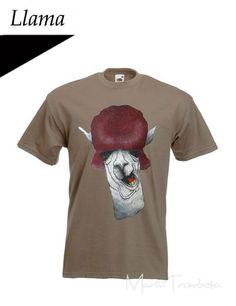 T-shirt dipinta a mano llama di Mar&Vi su DaWanda.com