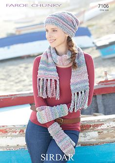 Sirdar 7106 Faroe Chunky Accessories for an Average Lady Slouchy Hat, Knit Or Crochet, Mittens, Plaid Scarf, Knitting Patterns, Winter Hats, Lady, Scarves, Tops