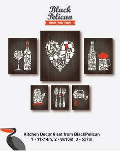 6 SET Red White on Brown Background Kitchen decor  by BlackPelican