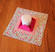 Valentine Quilted Candle Mat  Large Pink & White by CactusPenguin