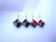 fun paper earrings- paper jewelry-red/grey bookbinding paper. $10.00, via Etsy.