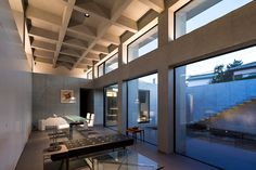 apollo architects completes japanese home with concrete coffered ceiling