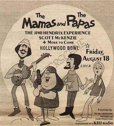 Mama's and Papa's - Jimi Hendrix Experience at the the Hollywood Bowl. Rock N Roll, Rock Posters, Band Posters, Music Posters, Vintage Concert Posters, Jimi Hendrix Experience, Music Album Covers, Rock Concert, Mamas And Papas