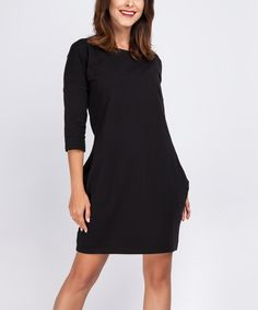 2003752d Black Side-Pocket Sheath Dress by Foggy #zulily #zulilyfinds Black Side,  Sheath