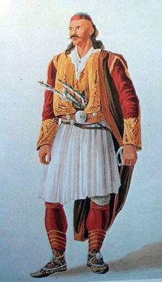 "Albanian Costume"",watercolour by J. Cartwright (1813), Benaki Museum,Athens"