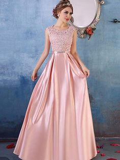 A-line Scoop Neck Satin Tulle Floor-length Appliques Lace Fabulous Prom Dresses #Milly020103487
