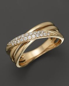 Diamond Crossover Band in 14K Yellow Gold, .15 ct. t.w. | Bloomingdale's
