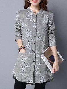 #AdoreWe #PopJulia - #PopJulia Floral Printed Long Sleeve Vintage Linen Blouse - AdoreWe.com