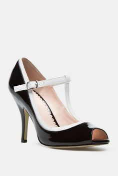 Magdelena T Strap Black and White peep toe pump... classic and sexy all in one