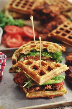 Fried Chicken and Waffle Sandwiches | The Candid Appetite