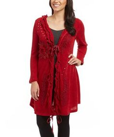 Red Embroidered Linen-Blend Duster