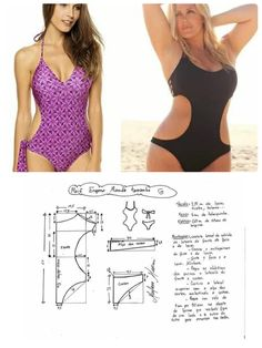 Traje de baño damas - Hit Tutorial and Ideas Underwear Pattern, Lingerie Patterns, Swimsuit Pattern, Tunic Pattern, Blouse Patterns, Clothing Patterns, Sewing Clothes, Diy Clothes, Basket Air Max