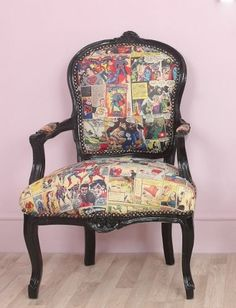 Louis Black Frame Vintage Superman / Superhero Comic Book Barber / Tattoo Chair
