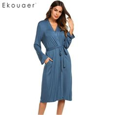 757276fcd7 Ekouaer Women Sleep Robes Nighties Long Sleeve Solid Kimono Robe Nightgown Spa  Bathrobe Sleepwear Dressing Gown
