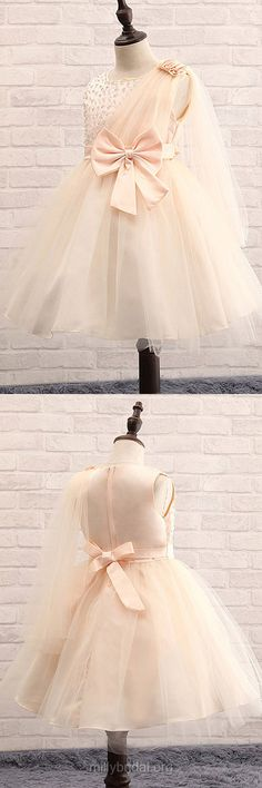 Ball Gown Flower Girl Dresses 2018, Tutu Flower Girl Dresses Lace, Champagne Flower Girl Dresses Princess