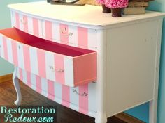 Pink Striped Antique Dresser http://www.restorationredoux.com/?p=5379