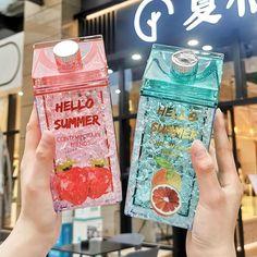 Fruit Water Bottle, Cute Water Bottles, Drink Bottles, Diy Cadeau Noel, Japanese Snacks, Aesthetic Food, Cute Food, Green And Orange, Voss Bottle