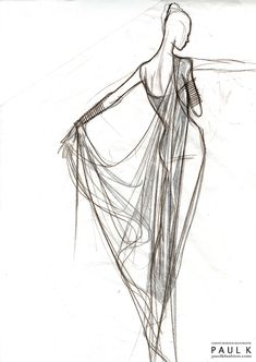 Fashion Sketch - draped dress, fashion illustration // Paul K