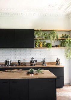 Loft Kitchen, Kitchen Room Design, Modern Kitchen Design, Home Decor Kitchen, Interior Design Kitchen, Kitchen Ideas, Kitchen Small, Black Kitchens, Home Kitchens