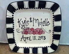 Wedding Plate – personalized and hand painted – Le Monde Rouge Sharpie Plates, Sharpie Art, Ceramic Plates, Decorative Plates, Sharpie Crafts, Pottery Painting, Ceramic Painting, Diy Painting, Painted Pottery