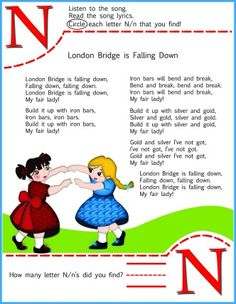 Circle The Letter N Worksheet and London Bridge Is Falling Down Song