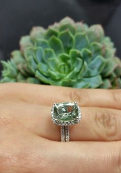 Prasiolite Engagement Ring in 14k White Gold with matching wedding band by www.LaurieSarahDesigns.com