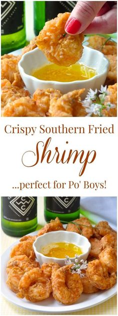 Southern Fried Shrimp Po' Boy These beautifully seasoned crispy shrimp are very versatile. Have them with oven baked wedge fries for dinner, dipped in garlic butter for party finger food, or piled high in a classic New Orleans Po' Boy Sandwich. Fish Recipes, Seafood Recipes, Cooking Recipes, Healthy Recipes, Fried Shrimp Recipes, Sauce Recipes, Deep Fried Shrimp, Shrimp Meals, Cooking Ham