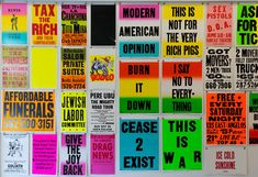 the exhibition features a series of limited edition prints that celebrates the colby poster, known for its bold, black typography and day­glow colors. Typography Images, Typography Inspiration, Typography Poster, Creative Posters, Cool Posters, Poster On, Poster Prints, American D, Day Glow